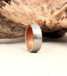 Titanium and Jack Daniels Whiskey Barrel White Oak Wedding Band, $260