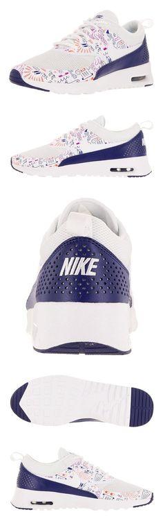 $74.99 - Nike Women's Air Max Thea Print White/White/Dark Purple Dust Running Shoe 8 Women US #shoes #nike
