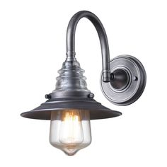 Insulator Glass 1 Light Wall Sconce In Weathered Zinc by Elk Lighting Group