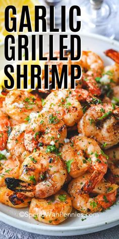 Garlic Grilled Shrimp is a perfect summer staple on the grill! Just a simple soak in this tangy marinade for a delicious shrimp kabob or tucked into a. Garlic Grilled Shrimp is a perfect summer staple on the grill! Just a simple soa. Shrimp Taco Recipes, Shrimp Appetizers, Kabob Recipes, Shrimp Dishes, Healthy Recipes, Cooking Recipes, Simple Shrimp Recipes, Easy Grilled Shrimp Recipes, Appetizers On The Grill