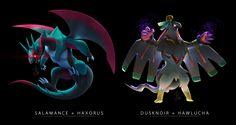 e621 dragon dusknoir fusion hawlucha haxorus nintendo pokémon salamence syntheticimagination video_games