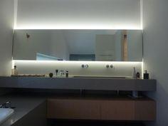 Miroir rétro-éclairé par LED - Salle de Bain - Aménagement de salle de bain près de Biarritz (64) : Projets réalisés - Agencement Bi Color