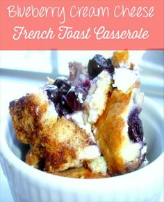Blueberry Cream Cheese French Toast Casserole , 45 mins in the oven--great for brunch the night after a party/sleepover. What's For Breakfast, Breakfast Dishes, Breakfast Recipes, Breakfast Casserole, Breakfast Crockpot, Overnight Breakfast, Morning Breakfast, Crepes, French Toast Bake