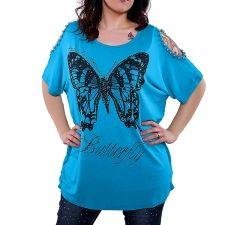 Butterfly - turkoosi paita 26.90EUR L Tunic Tops, Butterfly, Women, Fashion, Moda, Fashion Styles, Fashion Illustrations, Butterflies, Woman