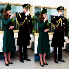 Will & Kate attended the St. Patrick's Day parade with the Irish Guards and took part in the annual ceremony of handing out shamrocks to members of the Guards. 3/17/14 Kate wore a new green coat from Hobbs called  'Persephone', a green Gina Foster hat, and Emmy 'Valerie' shoes.