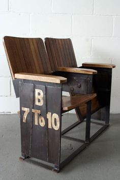 Two Seat Theatre Bench- I'd love to have vintage theatre seats in my dream home! Industrial Living, Industrial Chic, Industrial Furniture, Vintage Industrial, Cinema Seats, Style Deco, Theater Seating, Take A Seat, Vintage Industrial Furniture