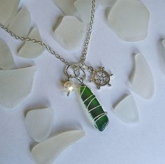 Wire Wrapped Green Sea Glass Necklace With Ships Wheel and a Pearl