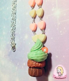 Collar Cupcake Menta con corazones por mariakawaiistore en Etsy