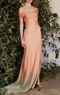 Silk Charmeuse Off The Shoulder Gown by Paule Ka