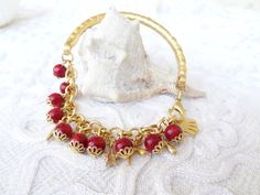Red Coral Gold Bracelet by sevinchjewelry on Etsy, $32.00