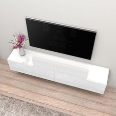 Living Room Tv Unit Designs, Floating Tv Stand, Tv Stand Overstock, Furniture, White Walls Living Room, Living Room Sets Furniture, Modern Furniture Living Room, Living Room Tv Stand, Tv Stand