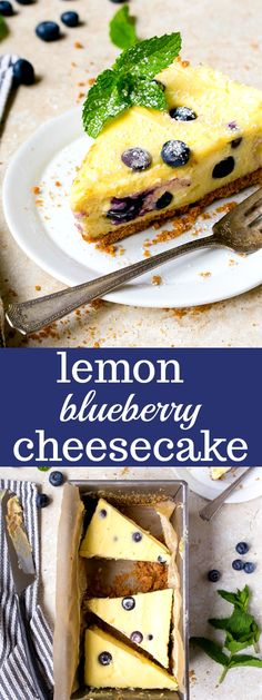 Lemon Blueberry Cheesecake for Two, made in a loaf pan. Small batch cheesecake makes 5 small slices. Lemon blueberry desserts are so fun!