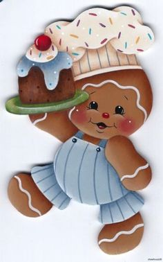 HP GINGERBREAD Boy Chef with Cake FRIDGE MAGNET