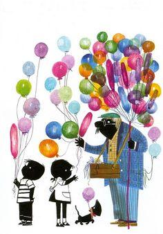 Jip en Janneke bij de ballonnenman.