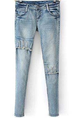 Blue Bleached Pockets Slim Denim Pant 25.67