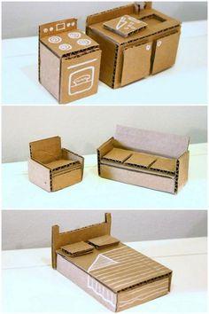 Super Ideas For Cardboard Furniture Diy Barbie House Diy Kitchen Furniture, Diy Barbie Furniture, Diy Dollhouse Furniture Easy, Furniture Ideas, Tiny Furniture, Shaker Furniture, Dollhouse Ideas, Coaster Furniture, Cardboard Dollhouse