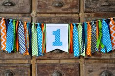 Monster first birthday party high chair banner, turquoise, green, orange, navy ONE highchair banner, cake smash photo prop, rag garland