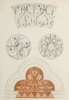 """Beautiful architectural decorations from the public domain ebook, """"Ornamentik des Mittelalters (1838)"""". Download in epub, pdf or kindle here: https://archive.org/stream/ornamentikdesmit00heid"""