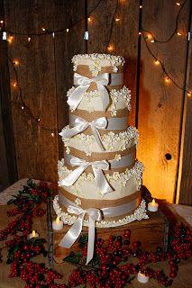 Elise's Sweet Creations: Burlap Themed Wedding Cake