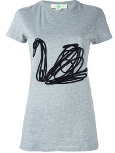 Shop Stella McCartney embroidered swan T-shirt  in Julian Fashion from the…
