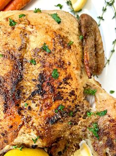 air fryer whole chicken on a white plate Deep Fried Recipes, Air Fry Recipes, Air Fryer Dinner Recipes, Delicious Dinner Recipes, Air Fryer Recipes Whole Chicken, Air Fryer Fried Chicken, Chicken Recipes, Easy Slimming World Recipes, Best Roasted Chicken