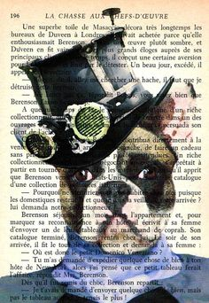 Steampunk Bulldog dog poster decor french bulldog por Pintorama