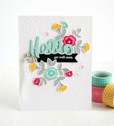 "Danielle Flanders ""HELLO"" card - PTI's Quilted Spring, Noted ""Hello"" die for Virginia's View challenge..."