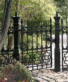 Stewart cast iron gates and railings Cast Iron Fence, Cast Iron Gates, Iron Garden Gates, Garden Fencing, Bamboo Fencing, Concrete Fence, Metal Fence, Glass Fence, Brick Fence