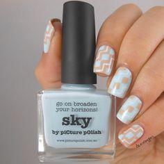 piCture pOlish Blog/Insta Fest 2014 - Sky & Beige + Mini Chevron NailVinyls = nails by Olesongles!  Shop on-line: www.picturepolish.com.au