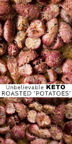 Low Carb & Keto Roasted Radishes i. 'Potatoes' dinner sides Low Carb & Keto Parmesan Roasted 'Potatoes' i. Keto Foods, Ketogenic Recipes, Diet Recipes, Cooking Recipes, Healthy Recipes, Ketogenic Diet, Dessert Recipes, Lunch Recipes, Keto Veggie Recipes