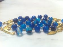 $80  Alina  Gorgeous blue agate stone multi strand bracelet with The 18 k gold plated chain ! The blue is so gorgeous!!