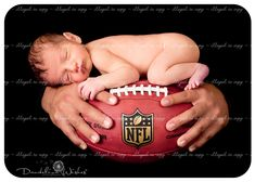 Awesome dad & baby photos, football photo for dad who works with Washington Redskins football players & team.