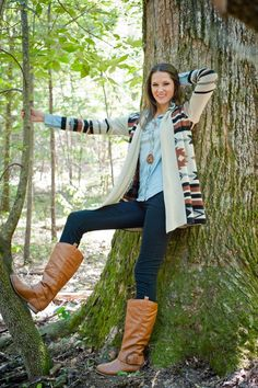 Brown Boots, Black Skinnies, A Denim Shirt, and a Cute Southwestern Sweater! Fun and so easy