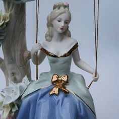 "11.8"" Swing Lady Ceramic Statue, Art Figurine Female sculpture Decoration, White Black Claws, White Porcelain, Pink Ladies, Hand Painted, Sculpture, Ceramics, Statue, Female, Disney Princess"