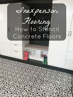 Inexpensive Flooring: How to Stencil Concrete Floors Want a quick and inexpensive fix for ugly and/or uneven concrete floors? Here is a guide for stenciling concrete to look like beautiful tile floors. Bathroom Concrete Floor, Stenciled Concrete Floor, Painted Concrete Floors, Painting Concrete, Concrete Tiles, Stained Concrete, Plywood Floors, Concrete Countertops, Plywood Furniture
