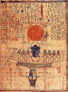 Egyptian Mythology ~ Nun, the embodiment of the primordial waters, lifts the barque of the sun god Ra into the sky at the moment of creation.