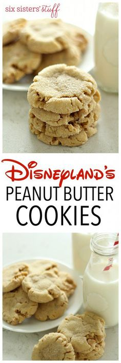Disneyland's Peanut Butter Cookies from SixSistersStuff | Thick, chewy, filled with peanut butter chips, and so, so soft like any perfect bakery cookie should be! These Disneyland bakery copy-cat cookies are to die for!
