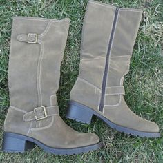 """Tall Boots NWT 16"""" tall, kind of a khaki brown with black undertones. Never worn. Nicole Shoes Combat & Moto Boots"""