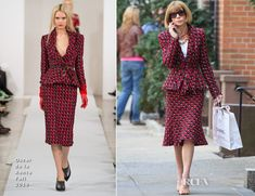 Anna Wintour In Oscar de la Renta - Chanel Shopping In New York City - Red Carpet Fashion Awards Shopping In New York, Babydoll Dress, Peplum Dress, Anna Wintour Style, Southern Women, Trumpet Skirt, Red Suit, Chanel, French Fashion