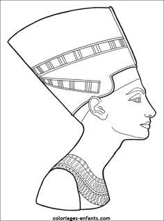 Coloriage : Cléopâtre  Coloriages Egypte  Pinterest