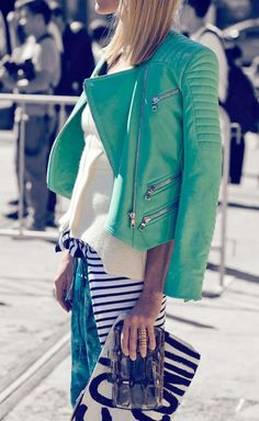 Mint leather jacket
