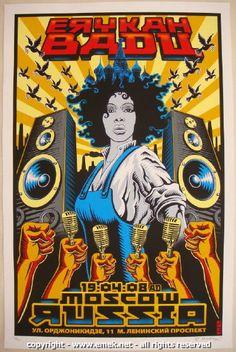 2008 Erykah Badu - Moscow Silkscreen Concert Poster by Emek