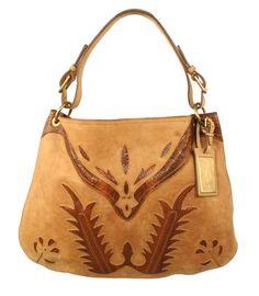 Ralph Lauren Purple Label Distressed Western Leather Python Hobo Bag
