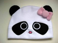 """Title:  CUTE PANDA WITH PINK BOW.  The hat you receive may vary slightly from the one in the photos, due to each hat being handcrafted.      Each hat, measuring approximately 23"""" around (average head"""