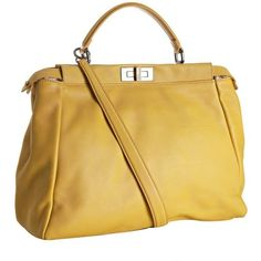 Fendi yellow saddle calf leather 'Peekaboo' satchel  $2,152