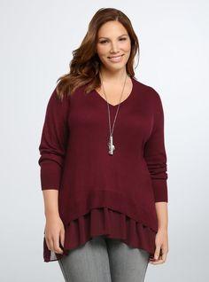 085e10425667 Torrid Layered Chiffon Sweater size 1 wine Red 1XL Shark bite Cotton Rayon  89 #Torrid