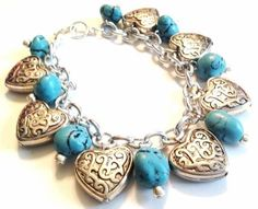 Southwestern Style Turquoise and Silver Chunky by JuicybitsJewelry, $18.00