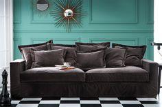 Velvet sofa.