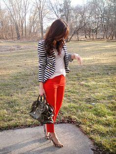 striped blazer, bright orange pants and white tee