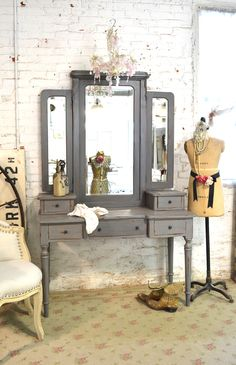 Painted Cottage Chic Shabby Romantic Vanity and Stool